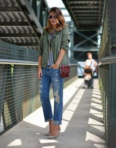 Casual fall look, olive, grey, and denim - swap heels for flats