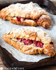 Raspberry Frangipane Stuffed Croissants-Croissants filled and topped with home-made almond paste, then stuffed with fresh raspberries. This is breakfast heaven!
