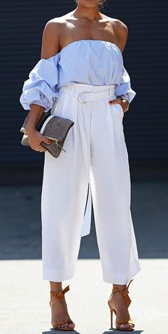 Off shoulder blouse + trousers #springstyle #summerstyle #shopthelook #ShopStyle #WeekendLook #DateNight #OOTD