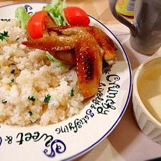 ビールに合う〜(*^^*) - 13件のもぐもぐ - ビールに合う♥️ガーリックライス*手羽照焼*生姜豆腐スープ by kana00