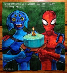 """Spidermonky and Spider-Man say: """"Happy Birthday Ansel!"""" (Love, Mom) // Daily Napkins: Creative Pop-Culture Napkins Drawn by Nina Levy"""