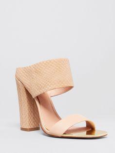 Rachel Zoe Open Toe Platform Slide Mule Sandals in nude