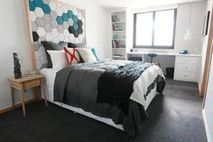 Love the headbed! life as we know it...: The Block Sky High   Week 4 Guest bedroom reveals