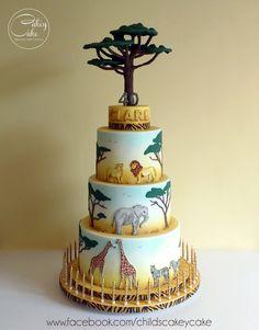 African Safari Cake by CakeyCake Jungle Birthday Cakes, Jungle Theme Cakes, Animal Birthday Cakes, Safari Cakes, Animal Cakes, Pretty Cakes, Beautiful Cakes, Amazing Cakes, Baby Shower Cakes