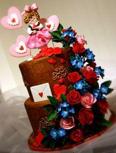 Love This Vintage Valentine Inspired Cake. Valentines Days Ideas #Valentines, #pinsland, https://apps.facebook.com/yangutu