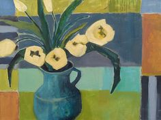"""Daily Painters Abstract Gallery: Contemporary Still Life Art Painting """"Blue Pitcher+Ivory Tulips"""" by Santa Fe Artist Annie O'Brien Gonzales"""