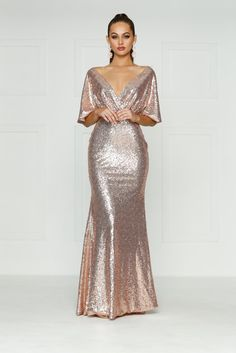 A&N Lily - Rose Gold Sequins Dress with Cape Sleeves and Mermaid Train – A&N Luxe Label Rose Gold Gown, Rose Gold Sequin Dress, Sequin Gown, Rose Gold Wedding Dress, Rose Gold Dresses, Rose Gold Evening Gown, Sparkly Dresses, Bridesmaid Dresses, Prom Dresses