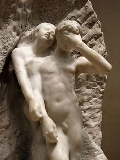 August Rodin - Orpheus and Eurydice at the Metropolitan Museum of Art in NYC. Probably modeled before 1887, executed 1893. Orpheus escorts his dead wife from the underworld. To save her, he must resist the temptation of looking at her until both have entered the world of the living.