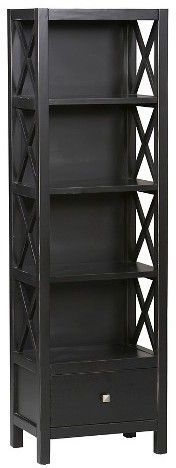 Linon 5 Shelf Bookcase Black - Linon Home Decor-Whether your décor is traditional or modern the stunning Antique Black Anna Bookcase will blend seamlessly into your home.#afflink