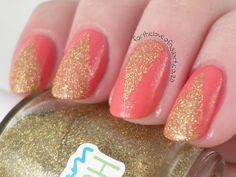 The Lacquer Ring - Gold Glitter. Base Colour: Essence's Va-Va-Voom. Glitter for tape Mani: Pipe Dream Polish's Treasure Chest