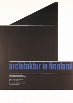 """Original 1950s Swiss design poster for an exhibition titled """"Architecture in Finand"""" by Carl Bernhard Graf. Part of our $100 Summer Clearance poster sale on September 30, 2013."""