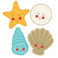 Cute Seasells  SVG cut file free svg cuts summer svgs beach svg file free svg cuts