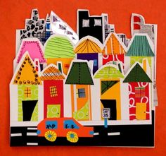 City collage with pre-cut roof and house shapes for K and Have every student make one and do a giant class/grade level mural? City Collage, Collage Art, 2nd Grade Art, Ecole Art, Kindergarten Art, Collaborative Art, Art Lessons Elementary, Art Lesson Plans, Art Classroom