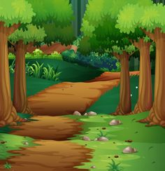 Illustration about Forest scene with dirt road in the middle illustration. Illustration of jungle, road, dirt - 68347569 Background Clipart, Cartoon Background, Background Images, Backdrop Frame, Backdrops, Landscape Illustration, Illustration Art, Forest Cartoon, 2d Character Animation