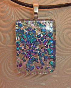 Sedona Sunset Dichroic Pendant, Handmade Fused Glass Jewelry from North Carolina