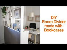 How to make a temporary room divider with IKEA Billy Bookcases - Season 2 - Ep 11 Metal Room Divider, Small Room Divider, Office Room Dividers, Room Divider Bookcase, Portable Room Dividers, Bamboo Room Divider, Living Room Divider, Room Divider Walls, Hanging Room Dividers