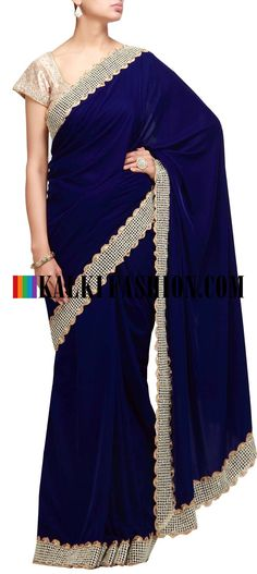 Buy Online from the link below. We ship worldwide (Free Shipping over US$100) http://www.kalkifashion.com/blue-saree-with-moti-border.html Blue saree with moti border