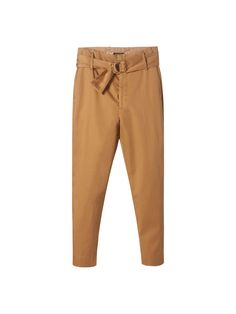 High waist chino trousers with belt and ring detail. They feature zip fly and hook and eye fastening, two side pockets, two back welt pockets and belt loops.