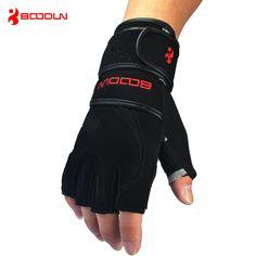 本革男性の半分指クロスフィット手袋ノンスリップジムフィットネス手袋ダンベルスポーツボディービル重量挙げ手袋