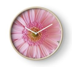 'Pink Gerbera' Clock by ellenhenry Pink Gerbera, Pink Carnations, Quartz Clock Mechanism, Floral Photography, Bunch Of Flowers, Modern Prints, Hand Coloring, Wall Tapestry, Decorative Throw Pillows