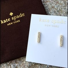 Trendy Kate Spade Pave Bar Stud Earrings Trendy Kate Spade New York Gold Tone Pave Bar Stud Earrings. New with tags retail price $48. Includes Kate Spade signature gift bag. PRICE FIRM kate spade Jewelry Earrings