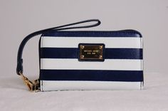 c5a7c2f55971 2014 Michael Kors Wallet Wristlet Leather Case For Blue Stripe