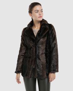 Abrigo largo de mujer Tintoretto de pelo marrón 3084156c9c9b