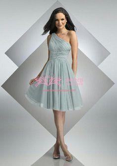 Chiffon Asymmetric A-line Ethereal Knee Length Bridesmaid Dress (WDS030133) $99.99