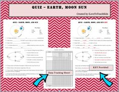 This is a great quiz that covers concepts of Days, Months, and Years; Rotation and Revolution; Solar and Lunar Eclipses; and Seasons on Earth.  Illustrations help guide students but do not give away answers.  This is a great resource ready to use for an easy gradable quiz.Key included and Data Sheet for tracking students' progress.THANK YOU!SAVE $$$ and purchase the BUNDLE for Moon Phases (9 activities)BUNDLE Moon Phases Pack of 9 Activities