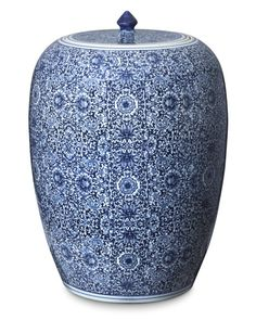 Blue & White Floral Ginger Jar | Havenly