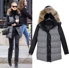 Womens long sleeve winter woolen fur coat with zipper decoration ...