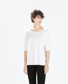 White OVERSIZED SWEATER from Zara  #simple
