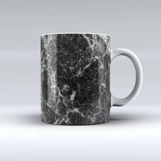 The Black Scratched Marble ink-Fuzed Ceramic Coffee Mug from DesignSkinz