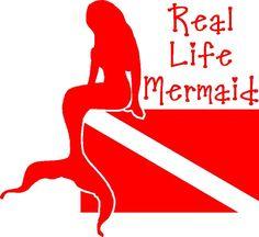Real Life Mermaid~Scuba Diver Dive Flag Sticker/Decal
