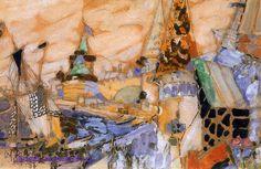 """1905 Врубель М.А. """"Сказочный город."""" Эскиз декорации."""