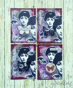"""ATC Set """"Butterfly Effect"""" I would like to share my latest mixed media ATC sets...         Natural Post Card              ATC 1 goes to  Klárka   ATC 2 goes to -..."""