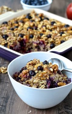 Blueberry Apple & Walnut Baked Oatmeal featuring @cawalnuts AD | The Foodie Physician