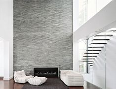 Bayside House with Elegant and Modern Layout: Modern Fireplace Brick Wall White Armchairs Minimalist STairs ~ dickoatts.com Luxury Home Designs Inspiration