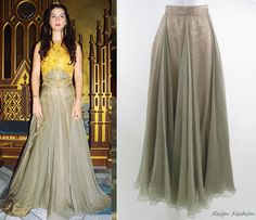In the fourth episode Mary wears one amazing Les Habitudes outfit, that features metallic silk skirt and embellished corset. Her yellow embroidered tailed top can also be from Les Habitudes, although...