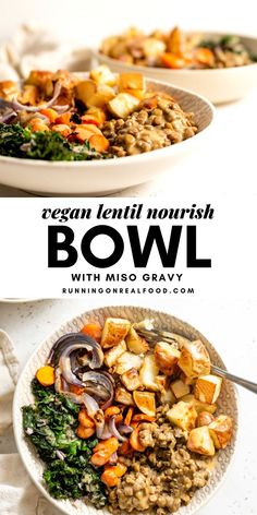 Healthy Lentil Nourish Bowl Recipe This hearty lentil nourish bowl is the ultimate cozy Fall and Winter meal. It's filling, rich in protein, fibre and nutrients and easy to make with simple, everyday, whole food ingredients. Lentil Recipes, Beef Recipes, Whole Food Recipes, Vegetarian Recipes, Healthy Recipes, Recipes Dinner, Vegan Main Dishes, Easy Weeknight Meals, Vegan Dinners