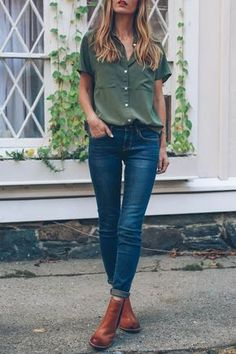 Blusa verde y Jeans