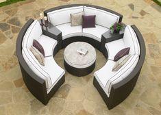 Circular Patio Sectional - Dark Wicker - modern - outdoor sofas - - by Furniture. Modern Outdoor Furniture, Wicker Patio Furniture, Beach Furniture, Wicker Couch, Wicker Trunk, Sofa Cushions, Custom Cushions, Wicker Table, Urban Furniture