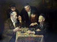 The Chess Player Painting | ... | Judaica Art Oil Paintings | Jewish Art | Fine Art | Oil Painting
