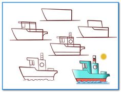 """2014-06 ... en fiskekutter (I'm pretty sure that's Norwegian for """"I can't draw a tugboat"""")"""
