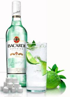 Bacardi Mojito Puerto Rico   4 easy steps to make Bacardi Mojito   > 12 mint leaves  >1/2 lime  > 1/2 sugar  (In a glass muddle well with a pestle)  > add 1 part Bacardi Rum  > last, top off with 3 parts Club Soda   (stir well) ;)