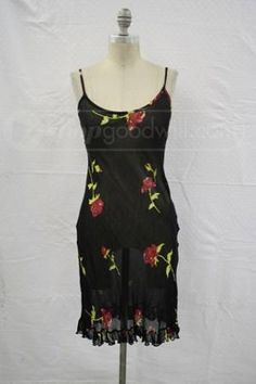 Bebe Black Sleeveless Floral Lined Dress