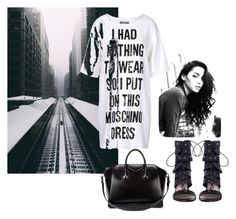 """""""In black and white"""" by obsessedaboutstyle ❤ liked on Polyvore featuring Zimmermann, Givenchy, Moschino, StreetStyle, blackandwhite, fashionblogger, StyleBlogger and StreetChic"""