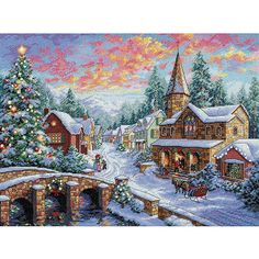 <li>Gold Collection Kits are wonderfully detailed with full and half cross stitches <li>Cross stitch a lovely rustic holiday village with this kit <li>Kit includes 16-count dove grey Aida cotton thread, thread sorter and more