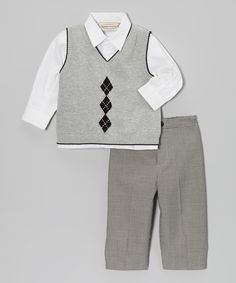 e65d543402a5f3 Take a look at this Gray Mini Argyle Sweater Vest Set - Infant, Toddler &  Boys by Boutique Collection by Imagewear on today!
