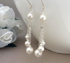 Long white pearl earrings pearl wedding by CreativityJewellery